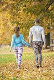 Beautiful young couple listening music and walking together in the park. Back view. Autumn environment Royalty Free Stock Images