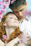 Beautiful young couple in love among the flowering trees Stock Images