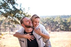 Couple in love hugging in the forest. royalty free stock photo