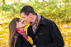 Beautiful young couple in love before kiss, Royalty Free Stock Photography