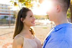 Beautiful young couple in love in the park. Royalty Free Stock Photos