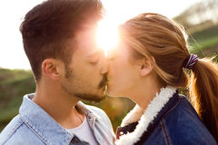 Beautiful young couple in love in the park. Stock Photography