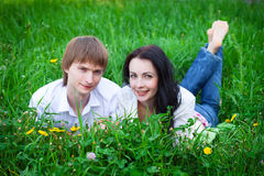 Beautiful young couple in love Stock Images