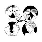 Beautiful young couple in love, wedding vector silhouettes Royalty Free Stock Photo