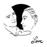 Beautiful young couple in love, wedding vector silhouettes Royalty Free Stock Photos