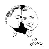 Beautiful young couple in love, wedding vector silhouettes Stock Photography