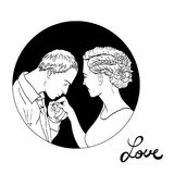 Beautiful young couple in love, wedding vector silhouettes Stock Photo