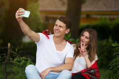 Beautiful young couple makes selfie Stock Image
