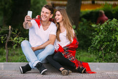 Beautiful young couple makes selfie Stock Photography