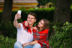 Beautiful young couple makes selfie Royalty Free Stock Photography