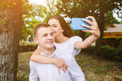 Beautiful young couple makes selfie Royalty Free Stock Images