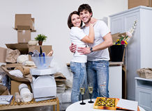 Beautiful young couple in  new flat Stock Photography