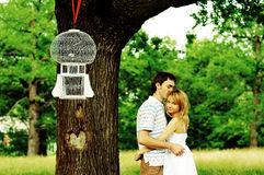 Beautiful young couple outdoors in the fores stock photos