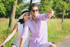Beautiful young couple posing outdoor Royalty Free Stock Photo