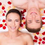 Beautiful young couple relaxes. Royalty Free Stock Image