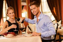 Beautiful young couple  in restaurant Royalty Free Stock Images