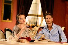 Beautiful young couple in restaurant Stock Photo