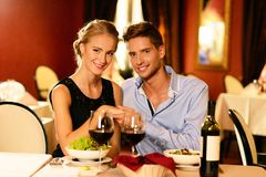 Beautiful young couple in restaurant Royalty Free Stock Photo