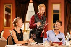 Beautiful young couple  in restaurant Stock Image