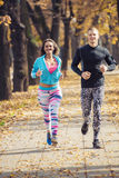 Beautiful young couple running together in the park. Royalty Free Stock Images