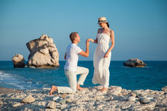 Beautiful young couple  on the seacoast Royalty Free Stock Image
