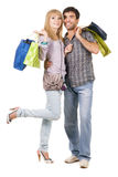 Beautiful young couple with shopping bags Royalty Free Stock Image