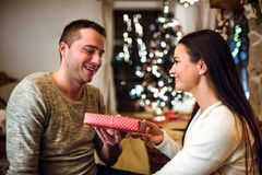 Young couple at Christmas time. Stock Photo