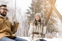 Love and fun in the snow Stock Images