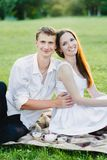 Fine picture of a beautiful young couple smiling royalty free stock photos