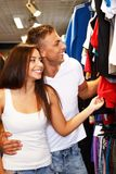 Beautiful young couple  in sport outlet Royalty Free Stock Photo