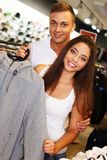 Beautiful young couple  in sport outlet Stock Images