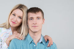 beautiful young couple in studio Royalty Free Stock Photo