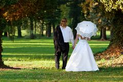Beautiful young couple on their wedding day Royalty Free Stock Image