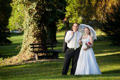 Beautiful young couple on their wedding day Royalty Free Stock Photos