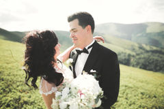 Beautiful young couple on their wedding day. Portraint close-up Royalty Free Stock Photos