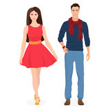 Beautiful young couple together. Cartoon students in fashion clothes. Male and female couple. Royalty Free Stock Image