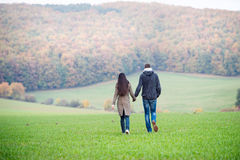 Beautiful young couple on a walk. Colorful autumn nature. Beautiful young couple on a walk, holding hands. Colorful autumn nature. Rear view Royalty Free Stock Photography
