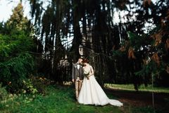 Sun illuminates tender faces of pretty wedding couple hugging in. Beautiful young couple walking in the autumn park smiling brightly Stock Photo