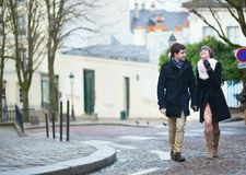 Beautiful couple walking in Paris Royalty Free Stock Photography