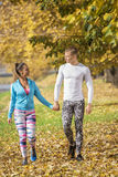 Beautiful young couple walking together in the park. Autumn environment Stock Photos