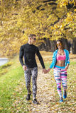 Beautiful young couple walking together in the park. Autumn environment Royalty Free Stock Photography