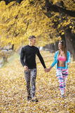 Beautiful young couple walking together in the park. Autumn environment Stock Images
