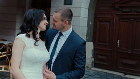 Beautiful young couple Wedding Kiss stock video footage