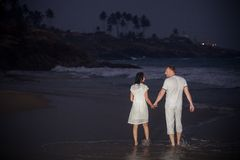 Beautiful young couple in white Stock Images
