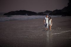 Beautiful young couple in white Stock Photo