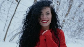 Woman in a winter park. Beautiful young curly woman with a gorgeous smile in a red sweater, standing in a winter park, smiling, laughing happily. Slow motion stock footage