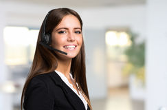 Beautiful young customer representative portrait royalty free stock photography