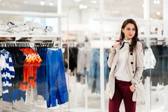 Beautiful woman buying clothes Royalty Free Stock Images