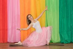 Beautiful young dancer spreads her arms Royalty Free Stock Images