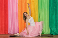 Beautiful young dancer spreads her arms Royalty Free Stock Photos